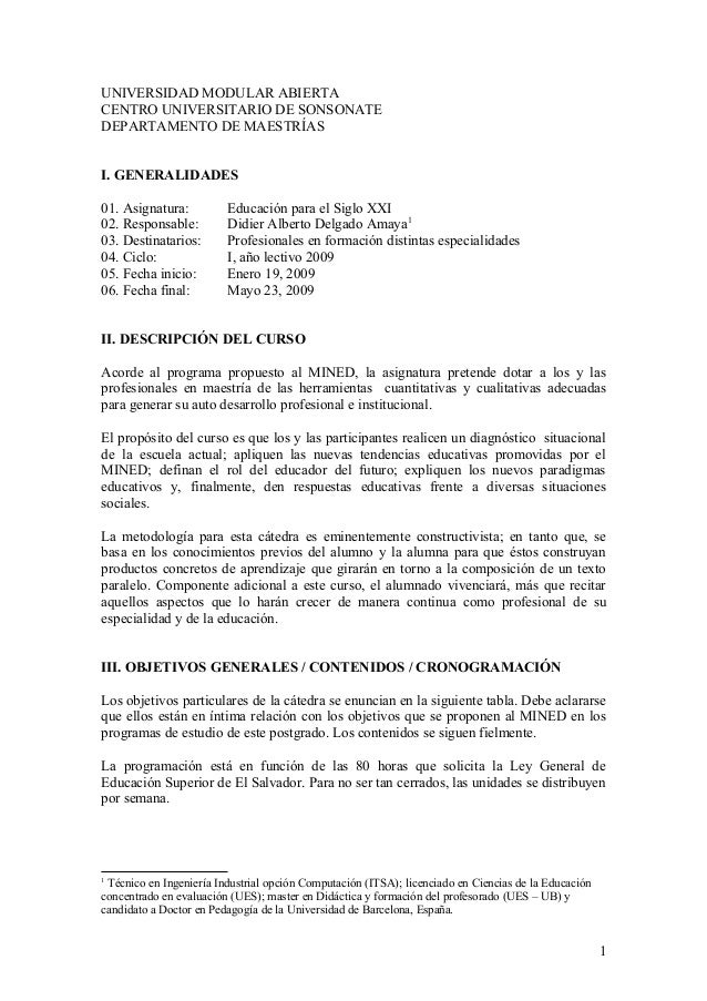 UNIVERSIDAD MODULAR ABIERTA CENTRO UNIVERSITARIO DE SONSONATE DEPARTAMENTO DE MAESTRÍAS I. GENERALIDADES 01. Asignatura: E...