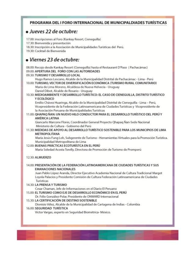 PROGRAMA DEL I FORO INTERNACIONAL DE MUNICIPALDIADES TURISTICAS  r Jueves 22 de octubre:   17.00: inscripciones al Foro (K...