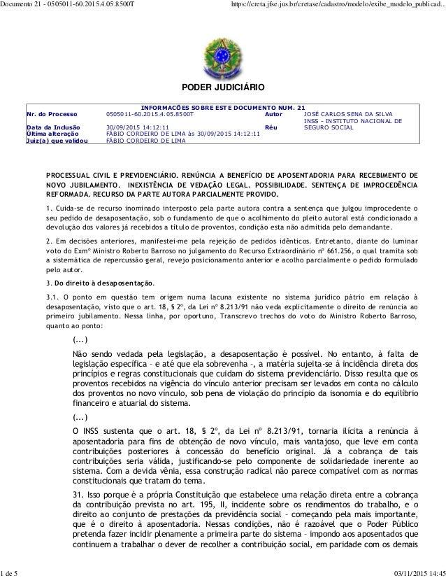 PODER JUDICIÁRIO INFORMACÕES SOBRE ESTE DOCUMENTO NUM. 21 Nr. do Processo 0505011-60.2015.4.05.8500T Autor JOSÉ CARLOS SEN...