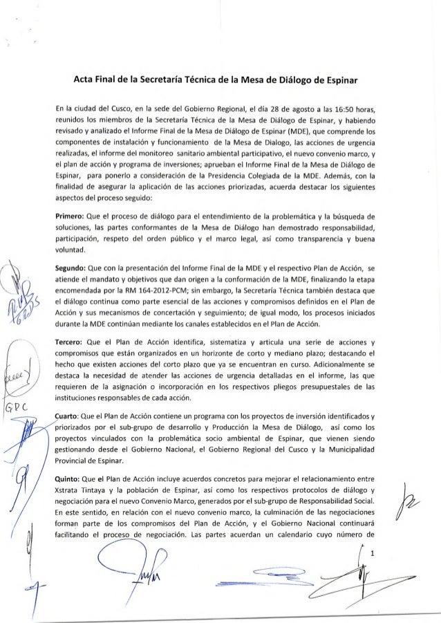 ACTA FINAL DE LA SECRETARÍA TÉCNICA DE LA MESA DE DIÁLOGO DE ESPINAR