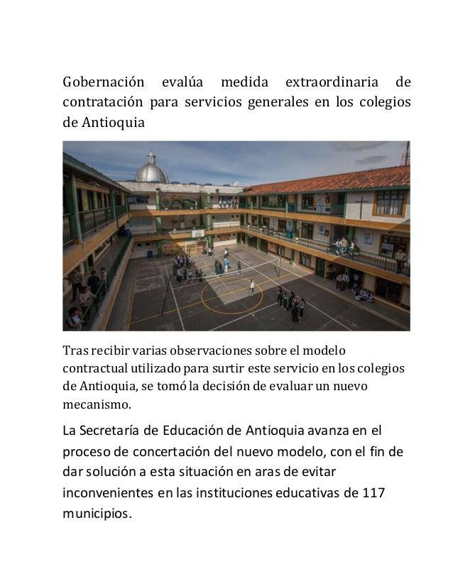 Gobernación evalúa medida extraordinaria de contratación para servicios generales en los colegios de Antioquia Tras recibi...
