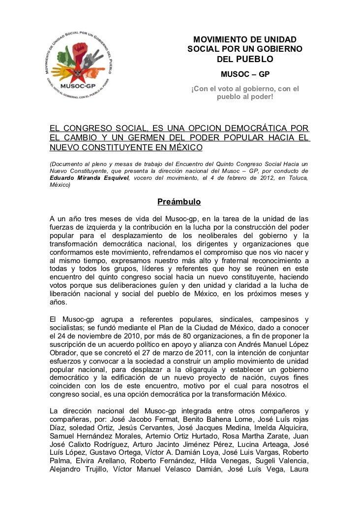 Documento al quinto congreso social 4 febrero 2012
