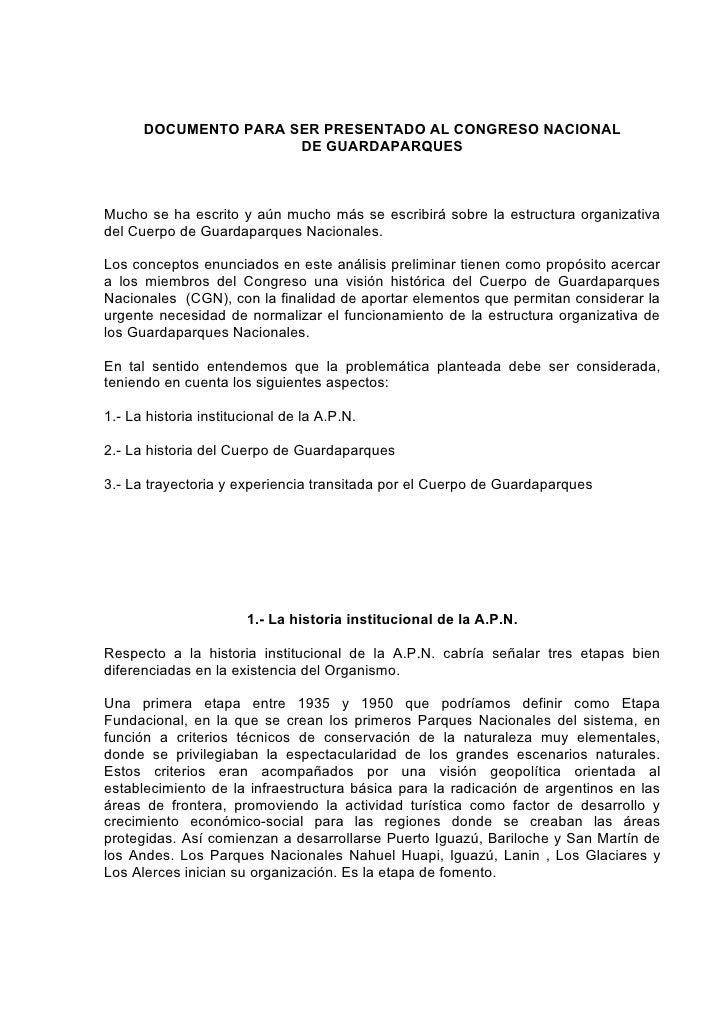 DOCUMENTO PARA SER PRESENTADO AL CONGRESO NACIONAL                       DE GUARDAPARQUES    Mucho se ha escrito y aún muc...