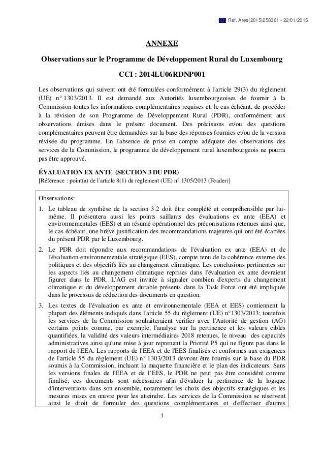 1 ANNEXE Observations sur le Programme de Développement Rural du Luxembourg CCI : 2014LU06RDNP001 Les observations qui sui...