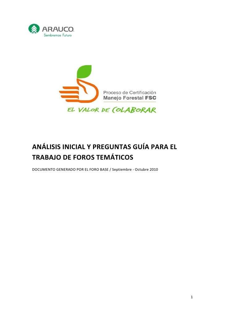ANÁLISIS INICIAL Y PREGUNTAS GUÍA PARA ELTRABAJO DE FOROS TEMÁTICOSDOCUMENTO GENERADO POR EL FORO BASE / Septiembre - Octu...