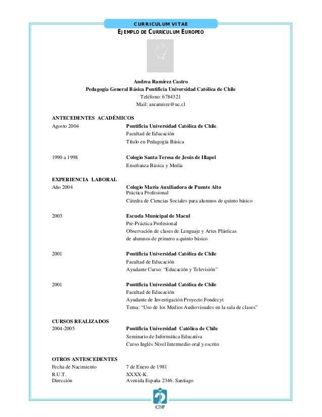 Formato De Curriculum Vitae Chile 2015