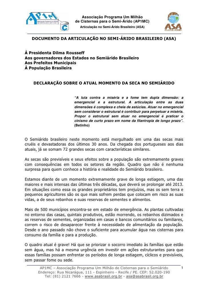 Associação Programa Um Milhão                           de Cisternas para o Semi-Árido (AP1MC)                            ...
