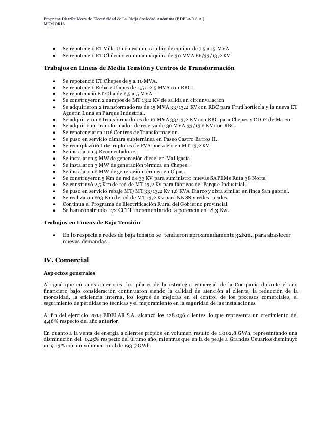 EDELaR SA: Estados financieros al 31 de diciembre de 2014