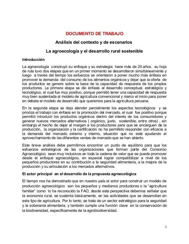 DOCUMENTO DE TRABAJO Análisis del contexto y de escenarios La agroecología y el desarrollo rural sostenible Introducción L...