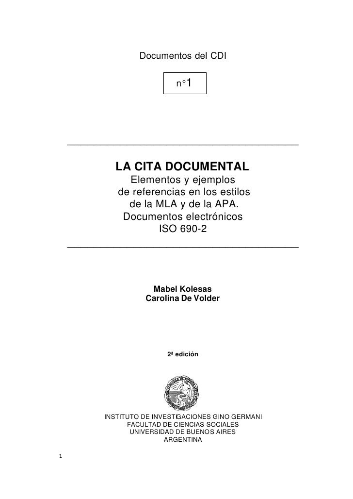 Documentos del CDI                           n° 1    ___________________________________           LA CITA DOCUMENTAL     ...