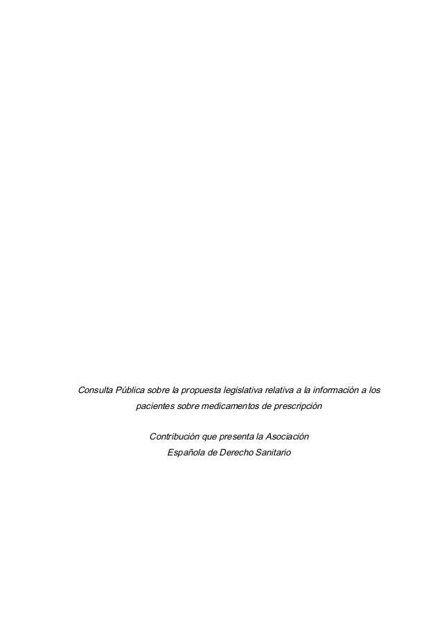 Consulta Pública sobre la propuesta legislativa relativa a la información a lospacientes sobre medicamentos de prescripció...