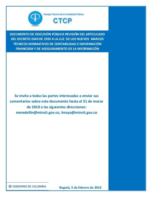 Documento De Discusion Vigencia Del Decreto 2649 De 1993 Ctcp