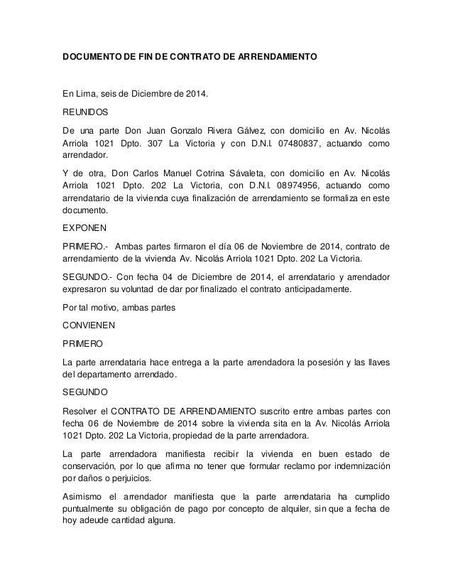 Documento de fin de contrato de arrendamiento for Contrato documento