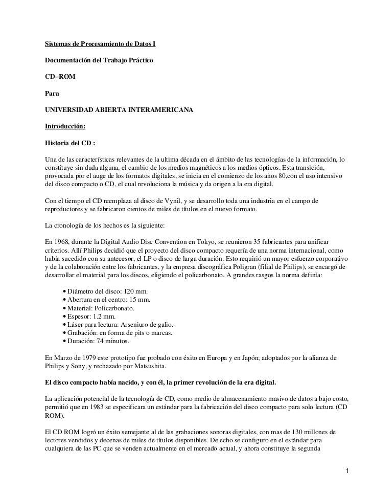 Sistemas de Procesamiento de Datos IDocumentación del Trabajo PrácticoCD−ROMParaUNIVERSIDAD ABIERTA INTERAMERICANAIntroduc...