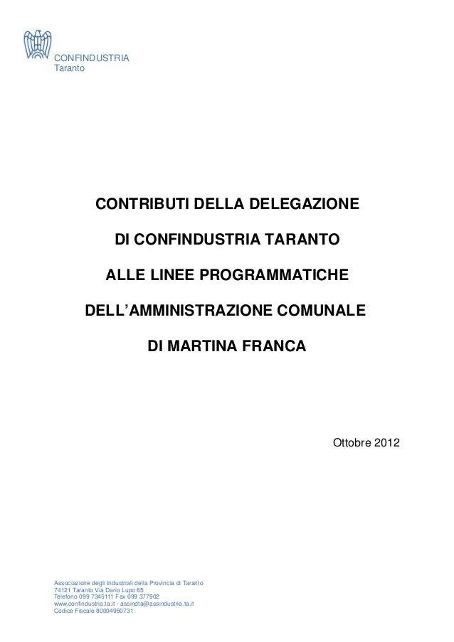 CONFINDUSTRIATaranto               CONTRIBUTI DELLA DELEGAZIONE                       DI CONFINDUSTRIA TARANTO            ...
