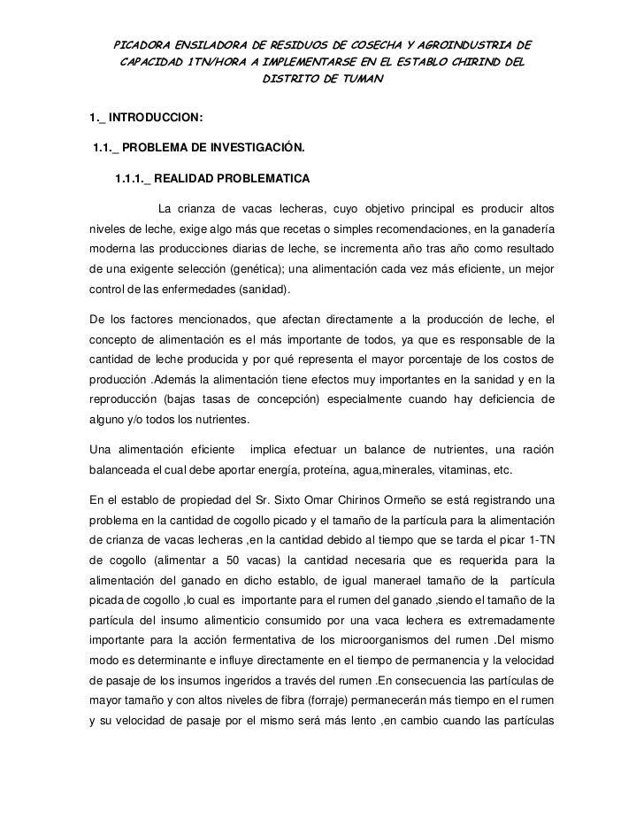 PICADORA ENSILADORA DE RESIDUOS DE COSECHA Y AGROINDUSTRIA DE      CAPACIDAD 1TN/HORA A IMPLEMENTARSE EN EL ESTABLO CHIRIN...