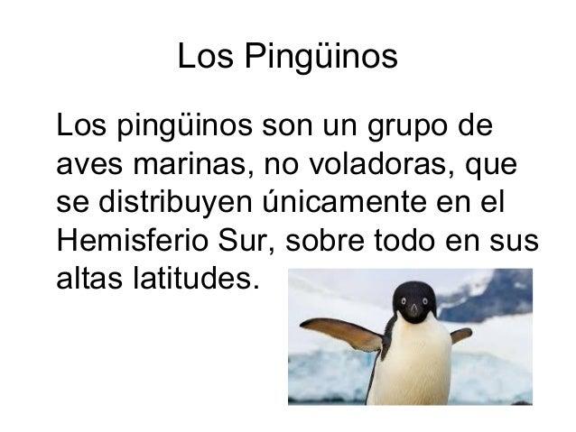 Los PingüinosLos pingüinos son un grupo deaves marinas, no voladoras, quese distribuyen únicamente en elHemisferio Sur, so...