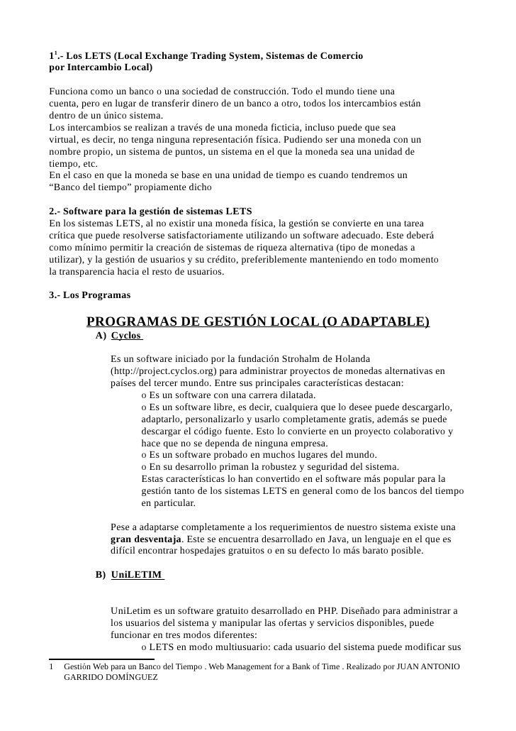 11.- Los LETS (Local Exchange Trading System, Sistemas de Comerciopor Intercambio Local)Funciona como un banco o una socie...