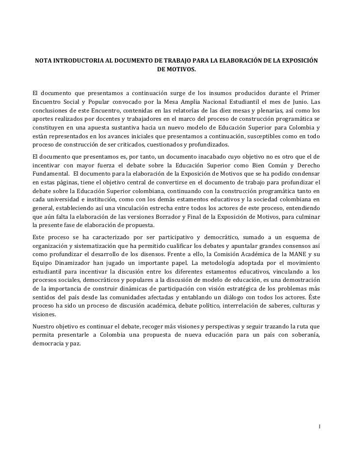 NOTA INTRODUCTORIA AL DOCUMENTO DE TRABAJO PARA LA ELABORACIÓN DE LA EXPOSICIÓN                                 DE MOTIVOS...