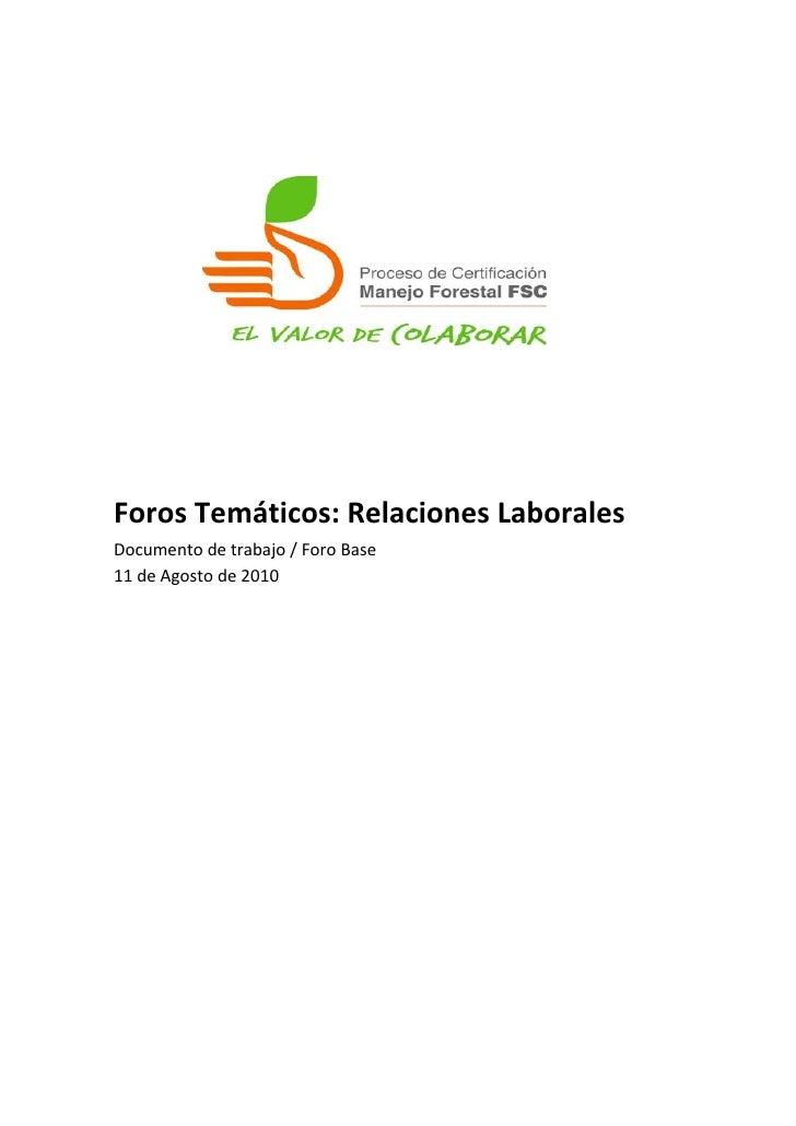 ForosTemáticos:RelacionesLaborales Documentodetrabajo/ForoBase 11deAgostode2010