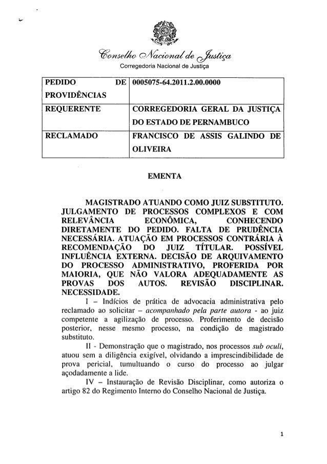 Documento do cnj sobre juiz pernambucano