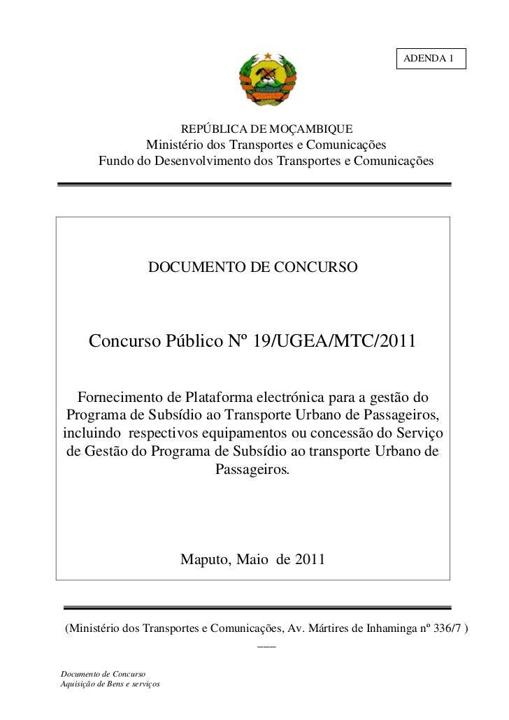 ADENDA 1                               REPÚBLICA DE MOÇAMBIQUE                 Ministério dos Transportes e Comunicações  ...