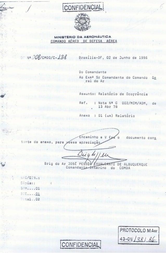 Documento do ministério da aeronáutica do brasil sobre ovnis