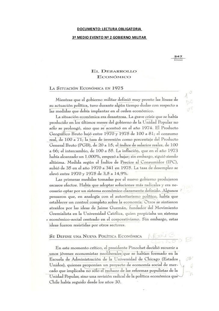 DOCUMENTO: LECTURA OBLIGATORIA3º MEDIO EVENTO Nº 2 GOBIERNO MILITAR
