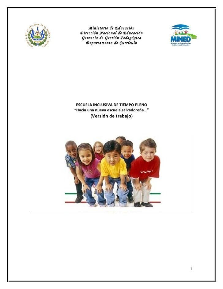 Ministerio de Educación  Dirección Nacional de Educación  Gerencia de Gestión Pedagógica     Departamento de Currículo ESC...