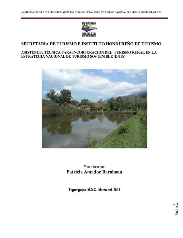 ASISTENCIA TÉCNICA PARA INCORPORACION DEL TURISMO RURAL EN LA ESTRATEGIA NACIONAL DE TURISMO SOSTENIBLE (ENTS)Página1SECRE...