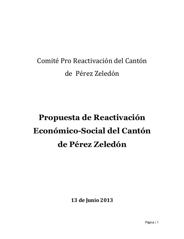 Página   1 Comité Pro Reactivación del Cantón de Pérez Zeledón Propuesta de Reactivación Económico-Social del Cantón de Pé...
