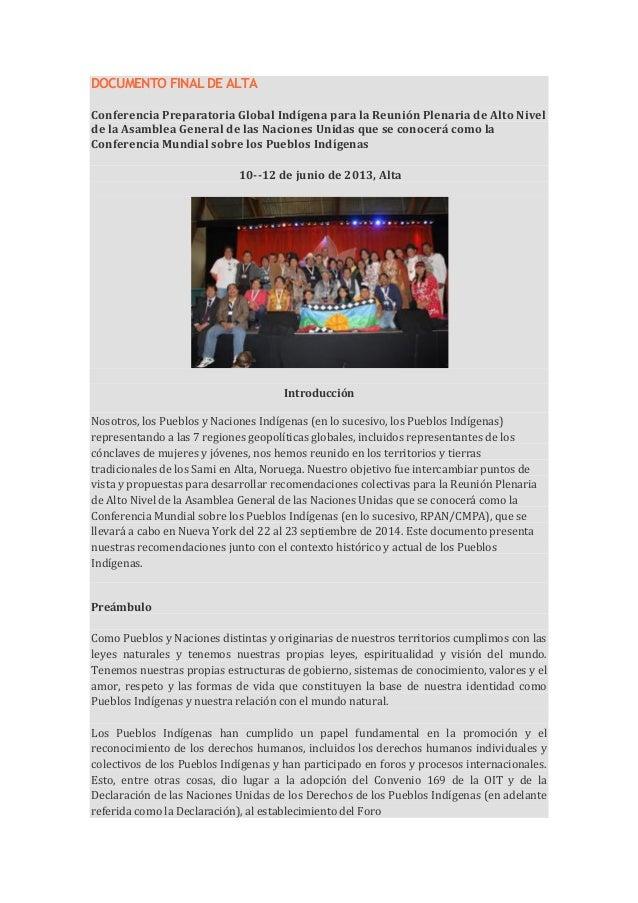 DOCUMENTO FINAL DE ALTAConferencia Preparatoria Global Indígena para la Reunión Plenaria de Alto Nivelde la Asamblea Gener...