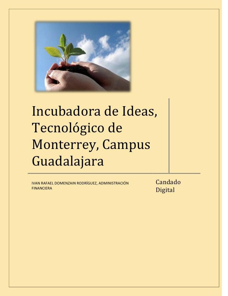 Incubadora de Ideas, Tecnológico de Monterrey, Campus Guadalajara                                                   Candad...