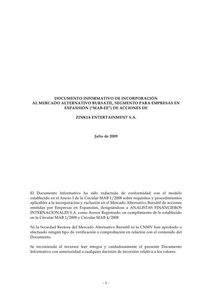 DOCUMENTO INFORMATIVO DE INCORPORACIÓN  AL MERCADO ALTERNATIVO BURSATIL, SEGMENTO PARA EMPRESAS EN              EXPANSIÓN ...