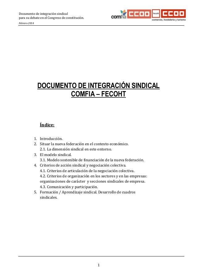 Documento de integración sindical para su debate en el Congreso de constitución. Febrero 2014  1 2 3 4 5 6 7 8 9 10 11 12 ...