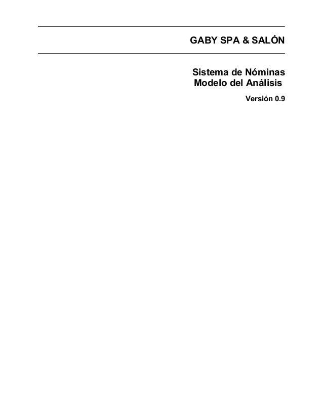 GABY SPA & SALÓNSistema de NóminasModelo del AnálisisVersión 0.9