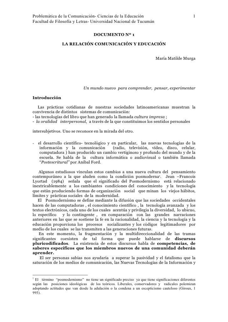 Problemática de la Comunicación- Ciencias de la Educación                                         1 Facultad de Filosofía ...