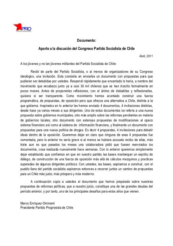 Documento:             Aporte a la discusión del Congreso Partido Socialista de Chile                                     ...