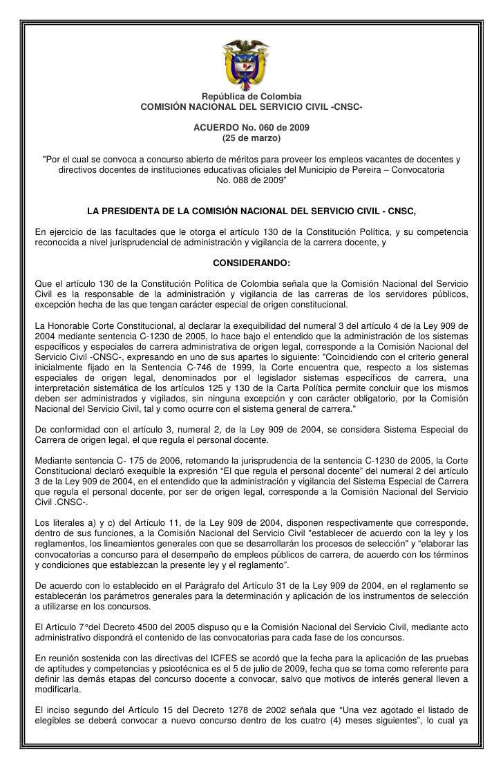 República de Colombia                           COMISIÓN NACIONAL DEL SERVICIO CIVIL -CNSC-                               ...