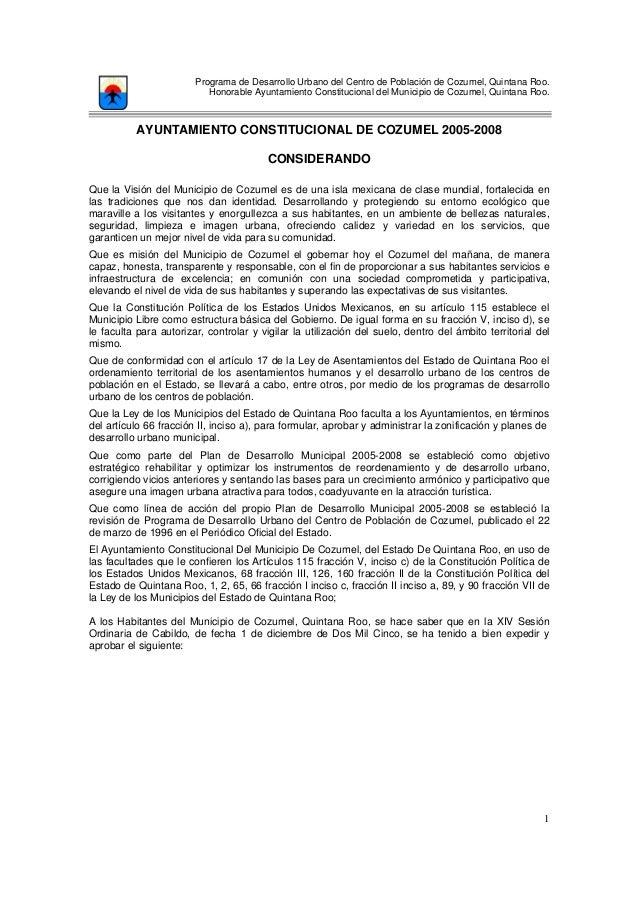 Programa de Desarrollo Urbano del Centro de Población de Cozumel, Quintana Roo. Honorable Ayuntamiento Constitucional del ...