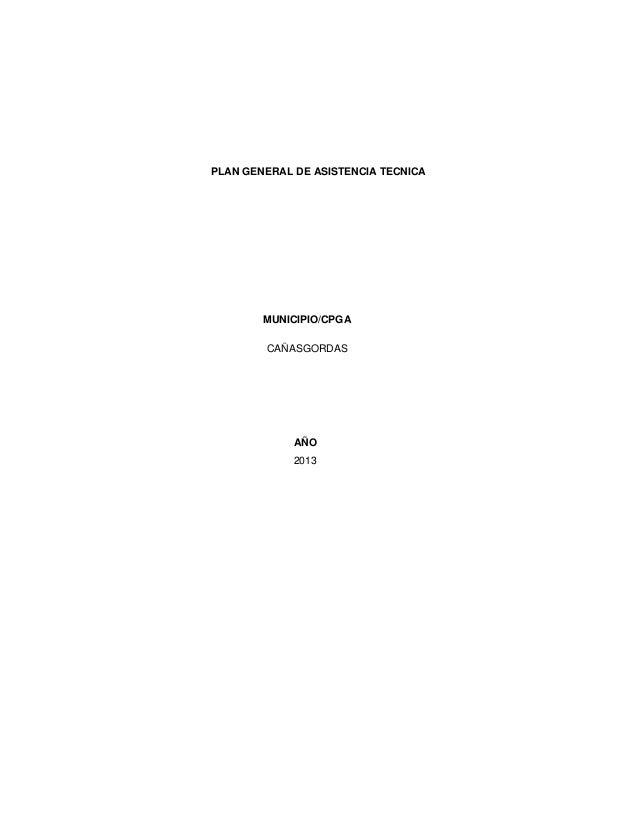 PLAN GENERAL DE ASISTENCIA TECNICA  MUNICIPIO/CPGA CAÑASGORDAS  AÑO 2013