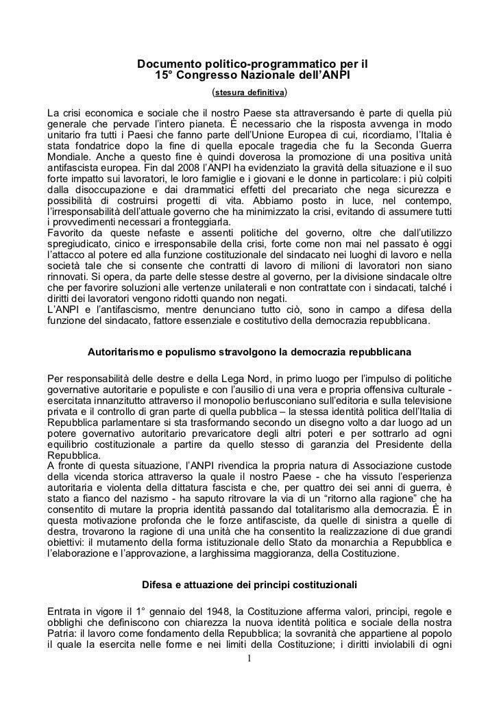 Documento politico-programmatico per il                        15° Congresso Nazionale dell'ANPI                          ...