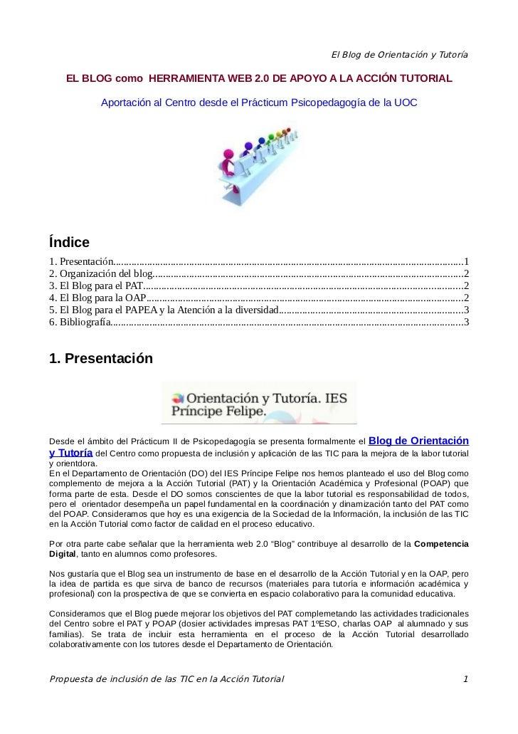 El Blog de Orientación y Tutoría     EL BLOG como HERRAMIENTA WEB 2.0 DE APOYO A LA ACCIÓN TUTORIAL                  Aport...