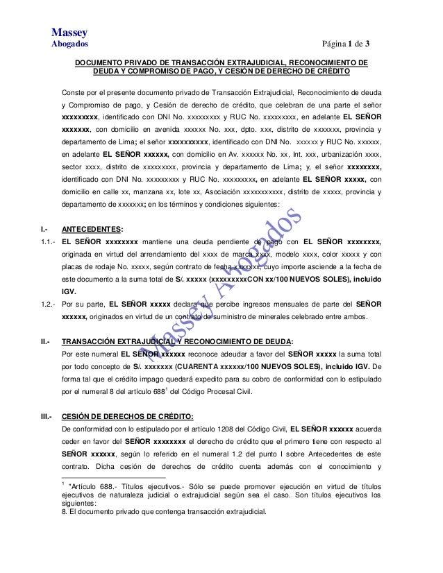 Documento privado de transacci n extrajudicial for Modelo acuerdo extrajudicial clausula suelo