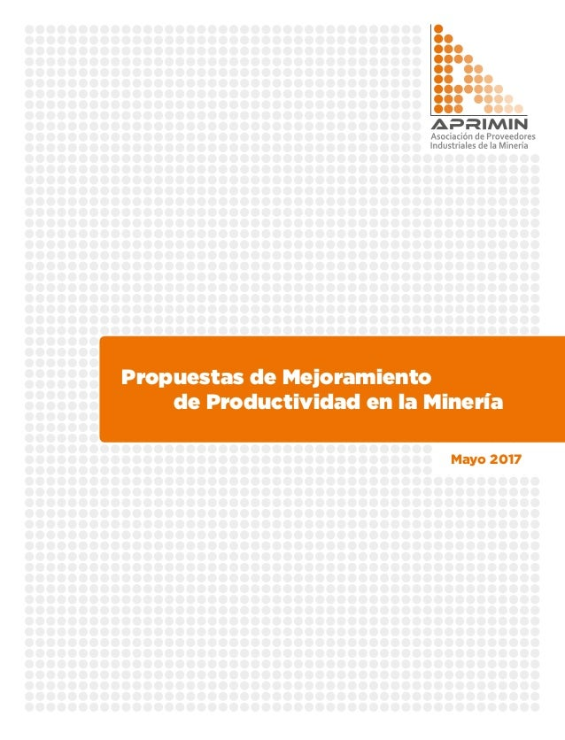 Propuestas de Mejoramiento  de Productividad en la Minería Mayo 2017
