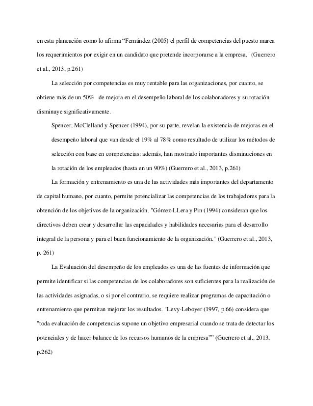 """en esta planeación como lo afirma """"Fernández (2005) el perfil de competencias del puesto marca los requerimientos por exig..."""