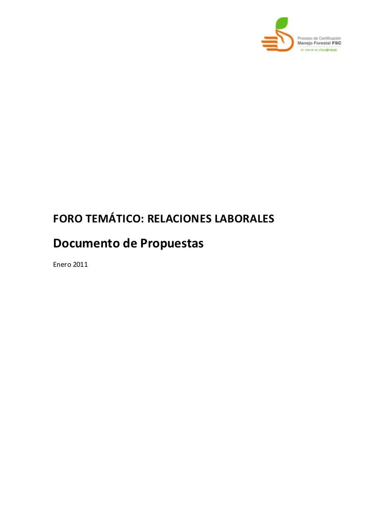 FORO TEMÁTICO: RELACIONES LABORALESDocumento de PropuestasEnero 2011