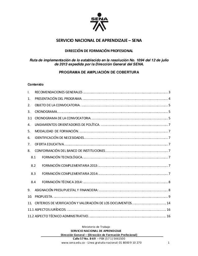 Ministerio de Trabajo SERVICIO NACIONAL DE APRENDIZAJE Dirección General – (Dirección de Formación Profesional) Calle 57 N...