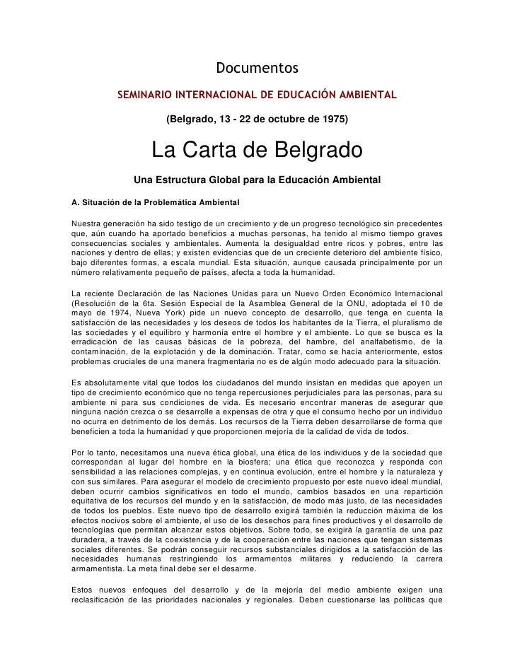 Documentos<br />SEMINARIO INTERNACIONAL DE EDUCACIÓN AMBIENTAL<br />(Belgrado, 13 - 22 de octubre de 1975)<br />La Carta d...