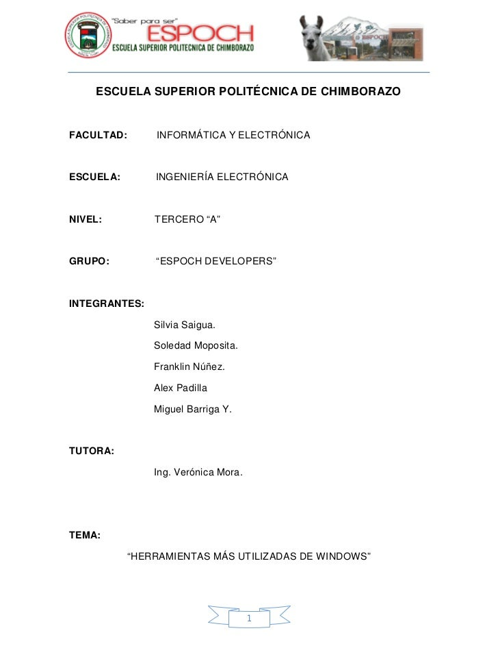 ESCUELA SUPERIOR POLITÉCNICA DE CHIMBORAZO   FACULTAD:       INFORMÁTICA Y ELECTRÓNICA    ESCUELA:        INGENIERÍA ELECT...